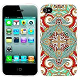 iPhone 4s Case, iphone4s case,iphone 4 case,iphone4 case, ChiChiC full Protective unique Stylish Case slim flexible durable Soft TPU Cases Cover for iPhone 4 4g 4s,geometric green rose red indian floral pattern