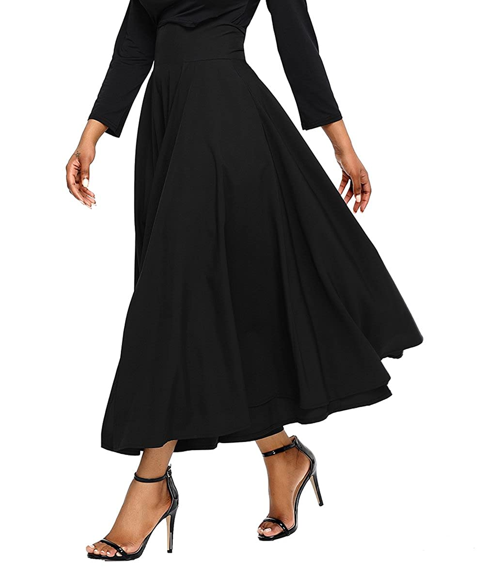 Victorian Skirts | Bustle, Walking, Edwardian Skirts Asvivid Womens Casual Solid Button Front High Waist Summer A-Line Long Maxi Skirt with Pocket $25.99 AT vintagedancer.com