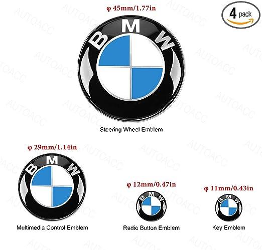 2 Piece BMW Radio Button Emblem Sticker 12mm Badge Decals Decoration Logo Fit for BMW