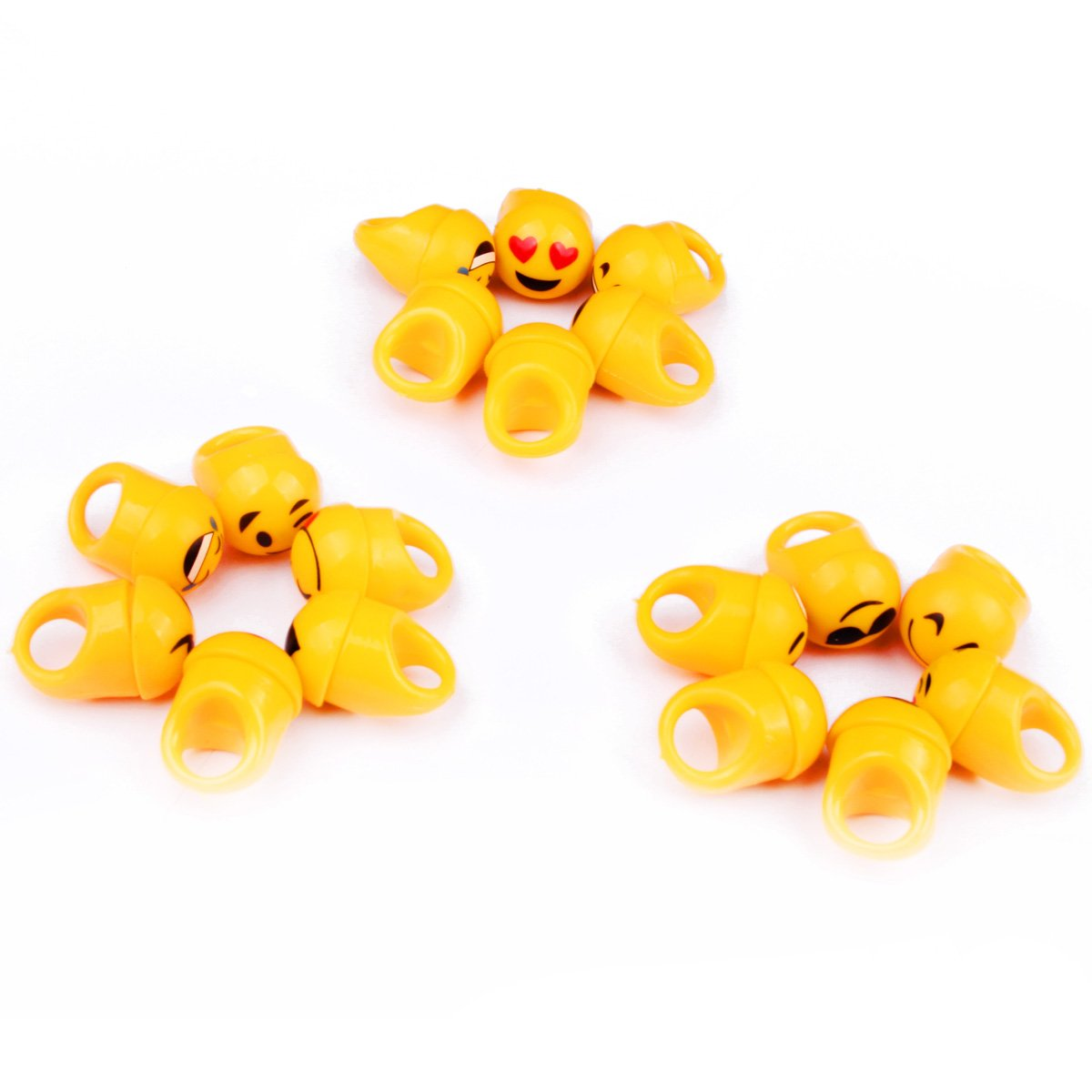 Wiekose Hyuling 108ps Bright Flashing Emoji LED Rings, Flashing Colorful LED Light up Bumpy Jelly Rubber Rings Finger Toys for Parties