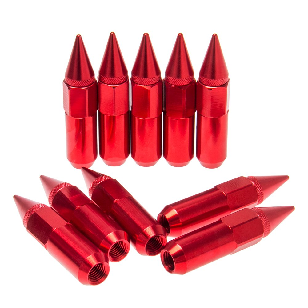 Red CarBole 60mm M12X1.5 Extended Tuner Racing Wheel Spiked Lug Nuts Extended Pack of 20