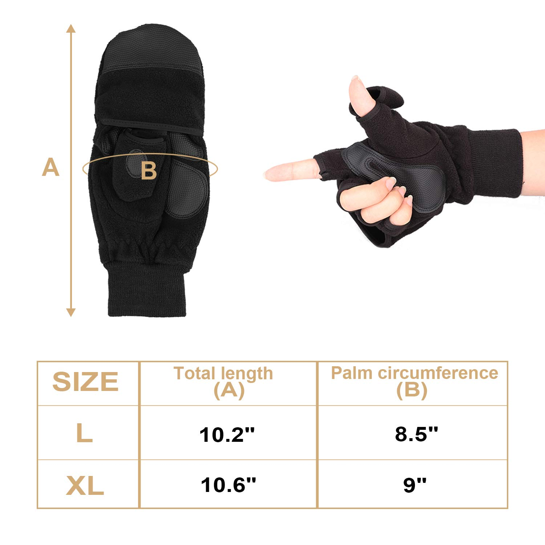 Black, XL KRATARC Winter Warm Gloves Men Women Windproof Mitten Outdoor Running Skiing
