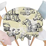 "Cheery-Home RoundTable Cloth duitable All Occasions,(70"" Round) Vintage Decor Illustration Kids Old Style"