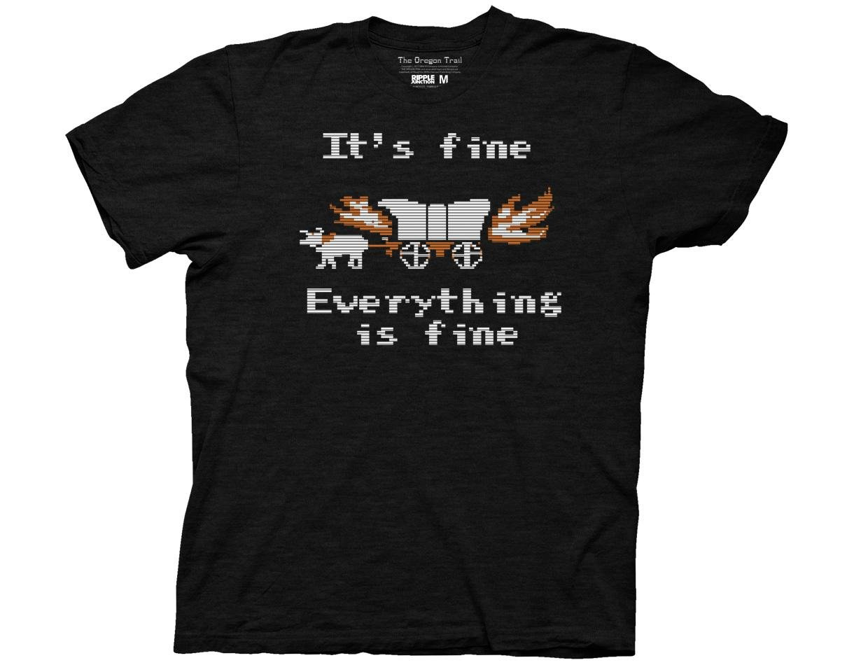 Ripple Junction Oregon Trail Everything Is Fine Adult T-Shirt Large Black