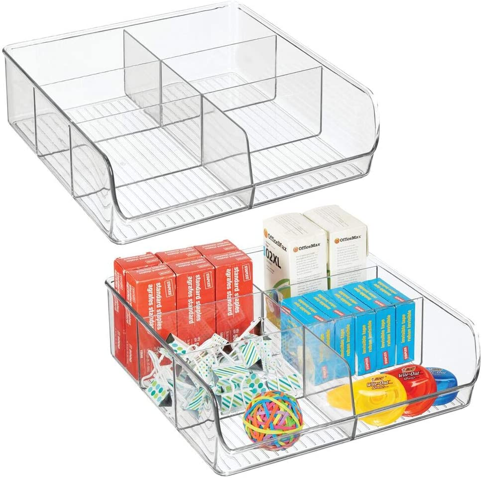 mDesign Juego de 2 organizadores de cajones para material de manualidades y de oficina – Práctica caja organizadora con 6 compartimentos – Bandeja de plástico para cajones y armarios – transparente