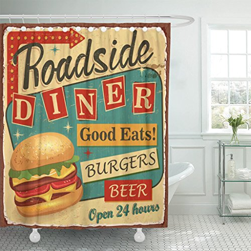 VaryHome Shower Curtain 1950S Vintage Roadside Diner Metal Sign Burger Retro Waterproof Polyester Fabric 72 x 72 inches Set with Hooks 61QDz 2BeG5TL