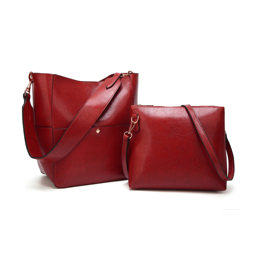 Women's Fashion Fine Fibre Genuine Leather Bucket Tote Shoulder Bag Handbag 2 bags for the price of one Model Twins Red Wine
