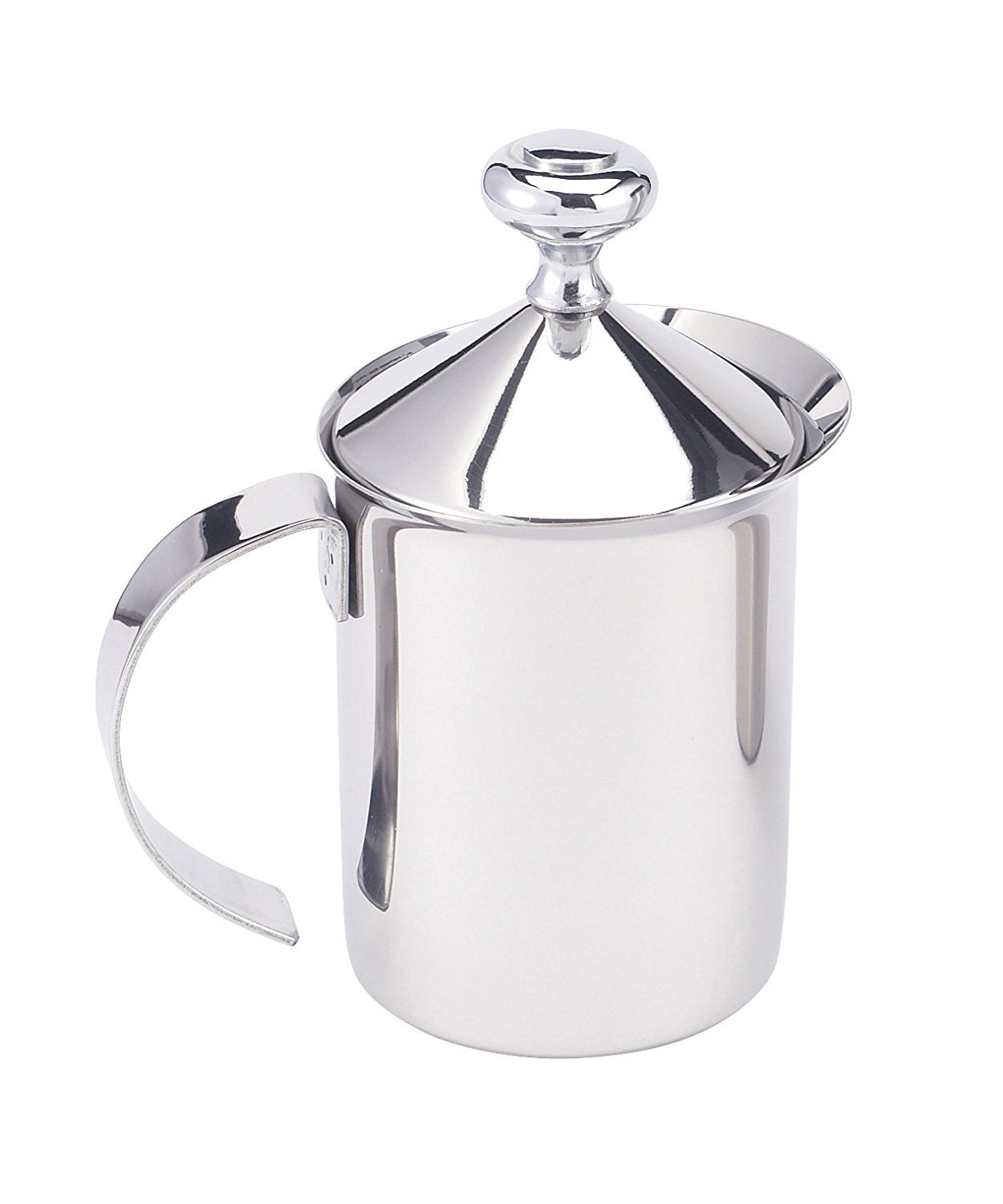HIC Milk Creamer Frother Cappuccino Coffee Foam Pitcher with Handle and Lid, Stainless Steel, 14-Ounce Capacity