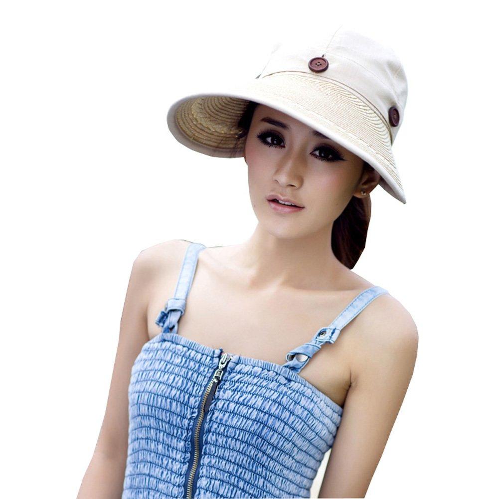 YYSTAR Women's Cotton Straw Wide Brim Sports Visor Anti-UV Summer Sun Hat Beige