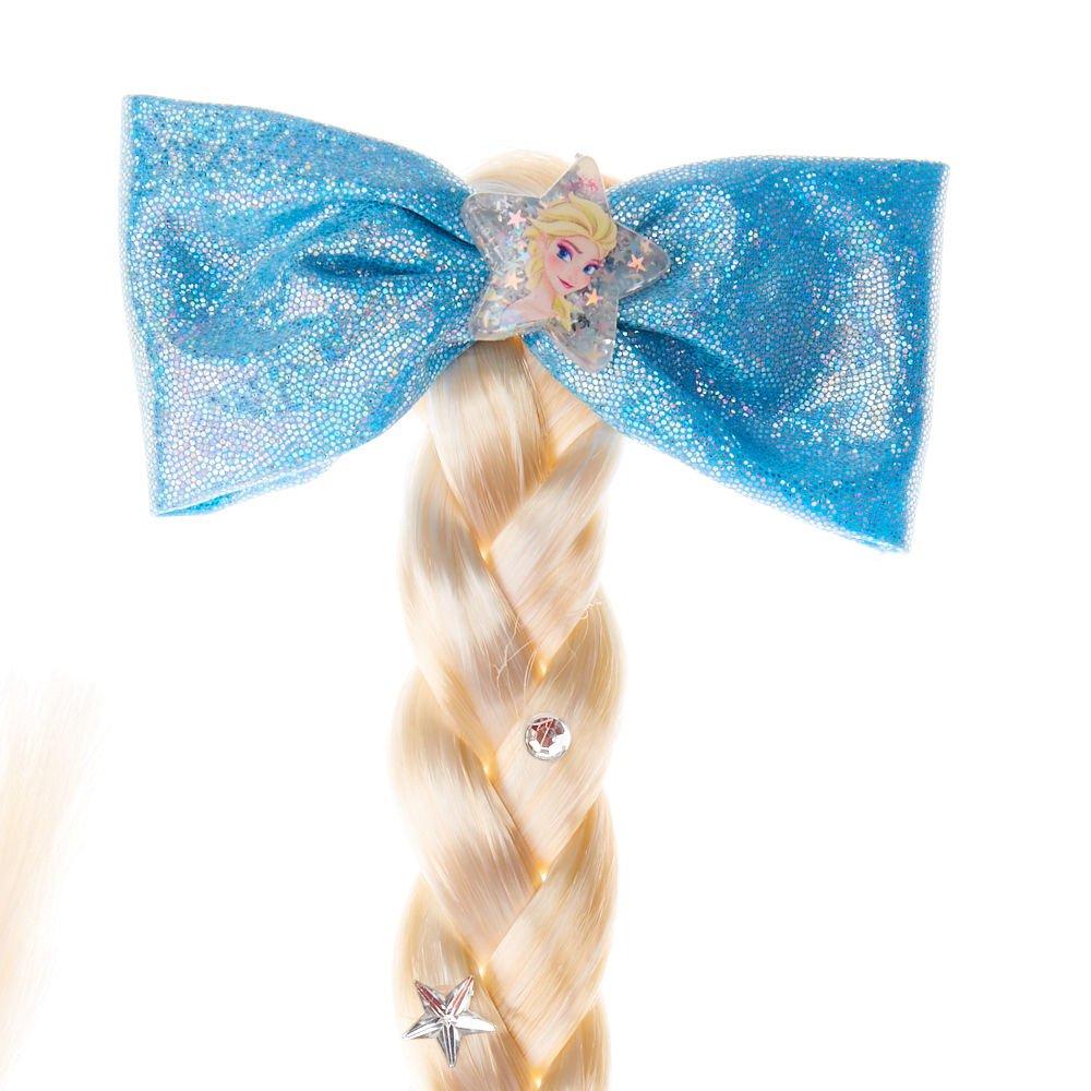Light Blonde Imitation Plait Blue Hair Elastic /& Sparkle Ribbon Bow Frozen Elsa,
