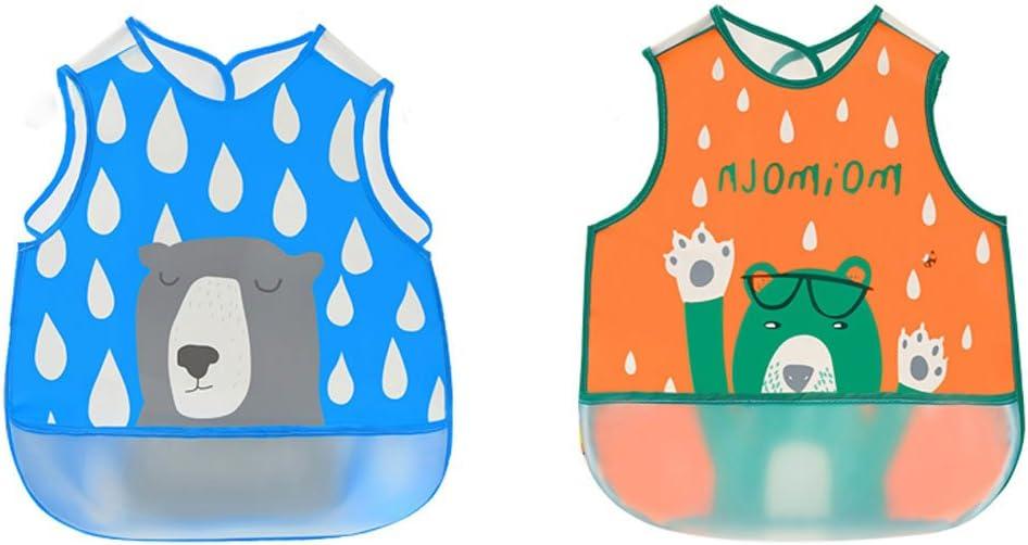EVA Material Con Bolsillo Para Pintura Comer Jugar Rosa//Naranja Irypulse Pack de 2 Baberos de Sin manga Alimentaci/ón Impermeable para Beb/é 0-3 A/ños