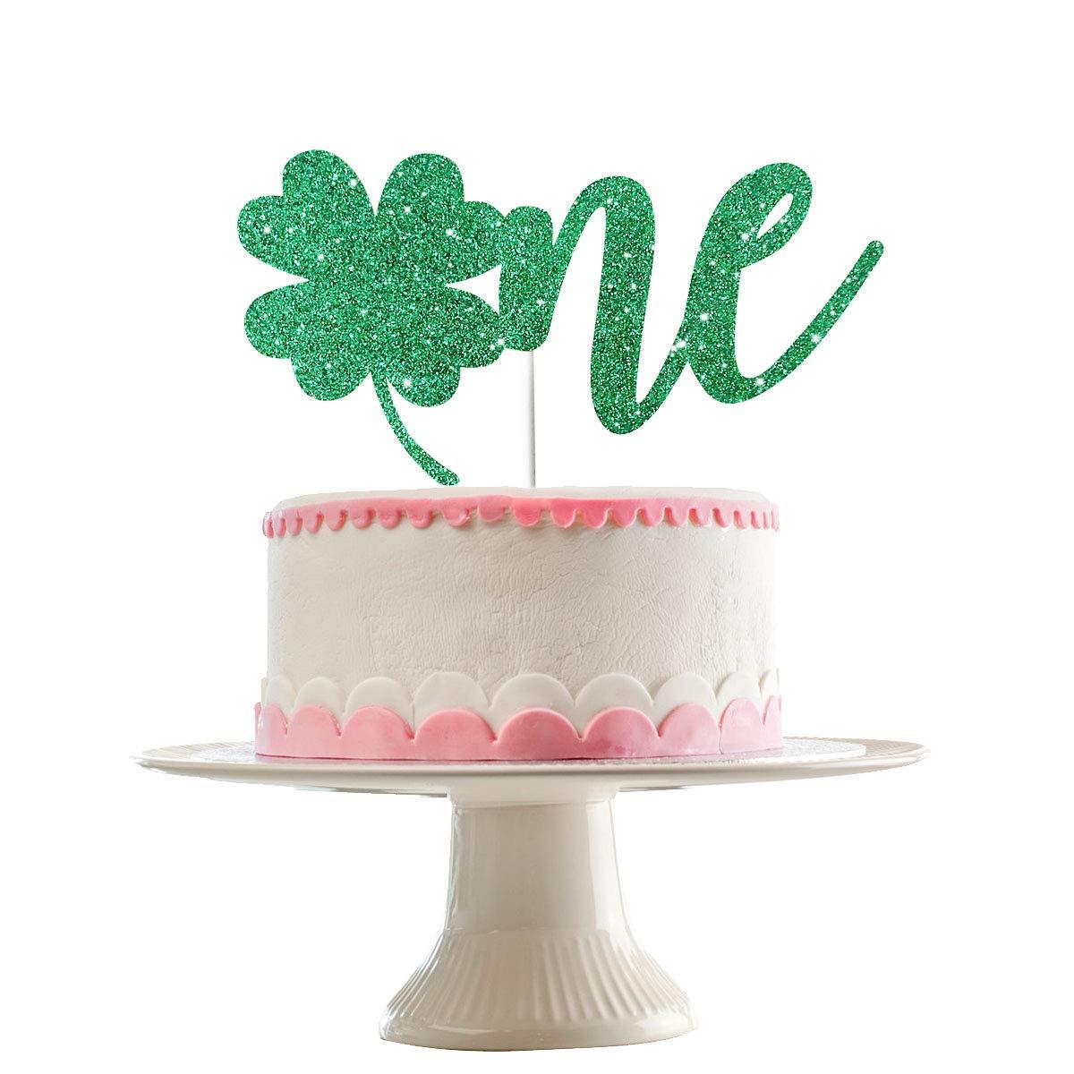 Fantastic Glittery Shamrock Clover One Cake Topper First Birthday Cake Birthday Cards Printable Trancafe Filternl
