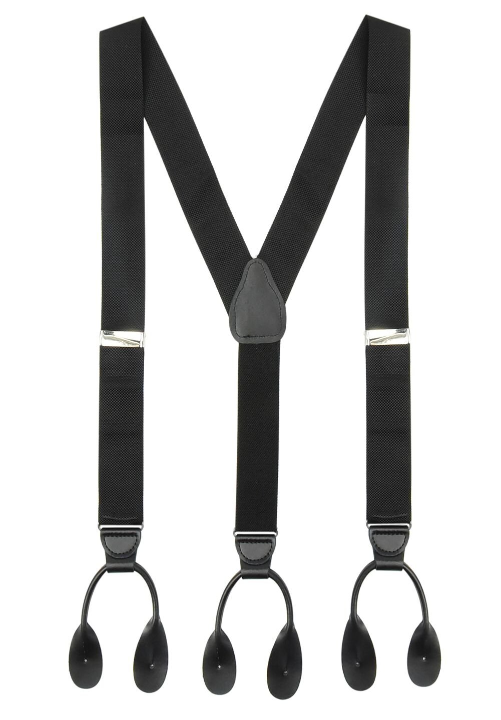 Suspender for Men MADE IN USA – Y-Back Genuine Leather Trimmed Button End Non-Stretch Tuxedo Suspenders -Black
