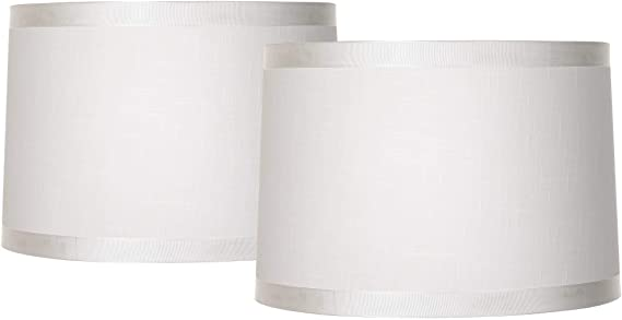Off White Fabric Set of 2 Drum Shades 15x16x11 Spider Brentwood