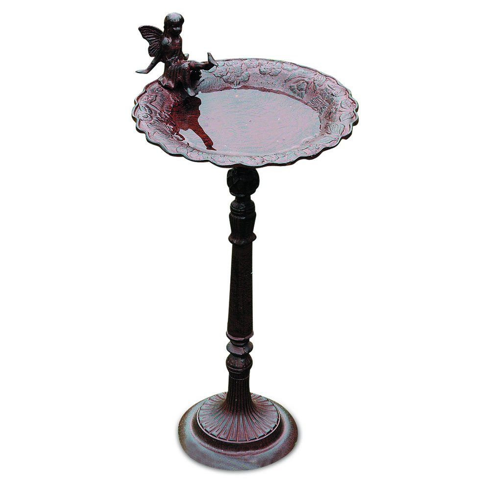 Whole House Worlds The Iconic Bird Bath with Fairy Perched on Rim, Pedestal Base, Garden Decoration, Cast Iron, Over 2 Feet Tall, By