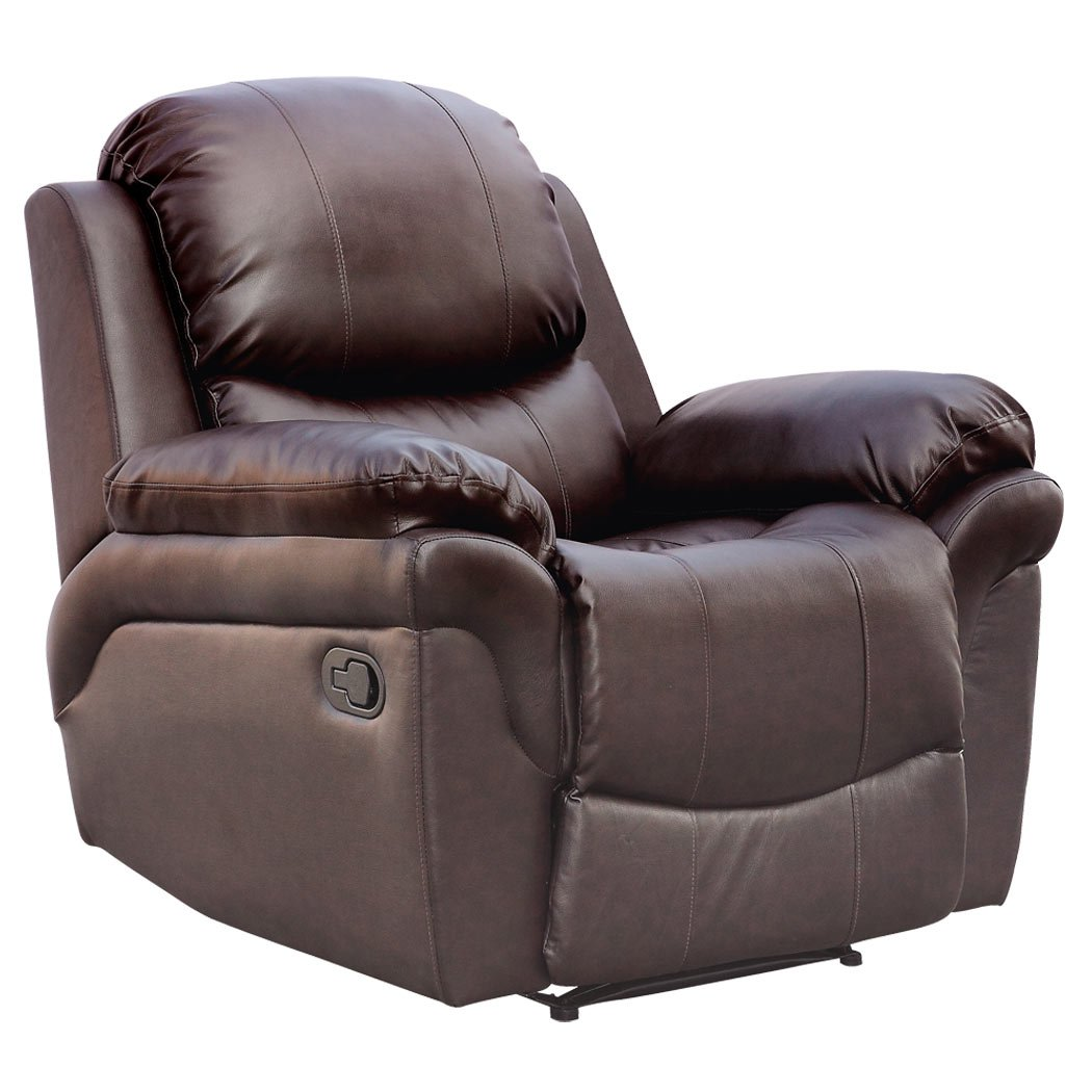 Comfortable arm chairs - Madison Real Leather Recliner Armchair Sofa Home Lounge Chair Reclining Gaming Brown