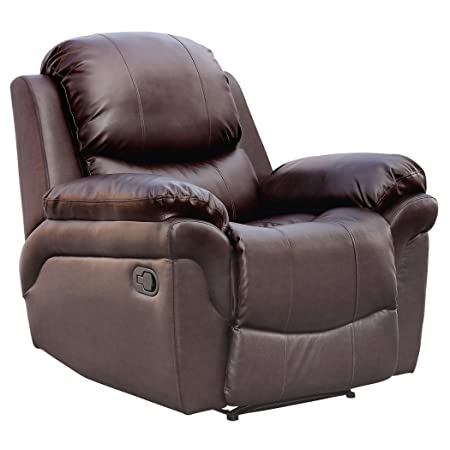 MADISON REAL LEATHER RECLINER ARMCHAIR SOFA HOME LOUNGE CHAIR RECLINING  GAMING (Brown)