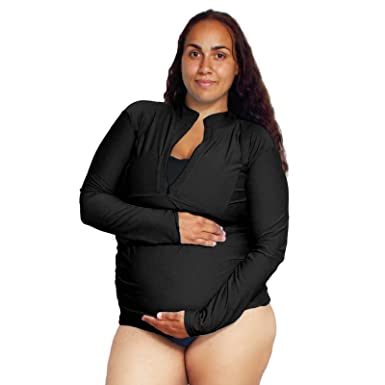 cfd3155db7d Women's Maternity Sun Protective Swim Shirt Plus Size Rash Guard (Black ...