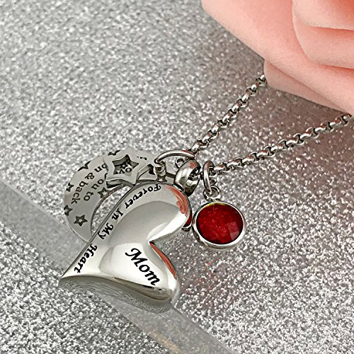 YOUFENG Urn Necklaces for Ashes I Love You to the Moon and Back for Mom Cremation Urn Locket Birthstone Jewelry (July urn necklace) by YOUFENG (Image #2)
