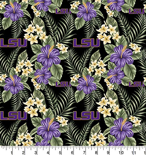 - University of Louisiana LSU Cotton Fabric Tropical Design-Newest Pattern-LSU Tigers Cotton Fabric