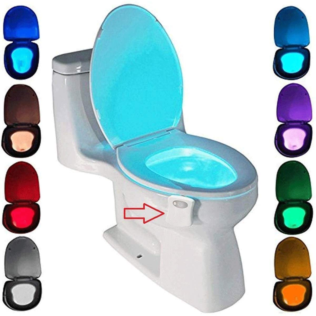 Toilet Night Light Motion Activated by ZSZT, Two Modes with 8 Color Changing, Sensor LED Washroom Night Light Fits Any Toilet