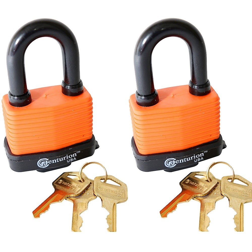 Centurion WPP Laminated Waterproof Padlock, Wide Body - Weather Resistant Outdoor Padlock, 3 Keys Included (50mm Set of 2) by Centurion USA