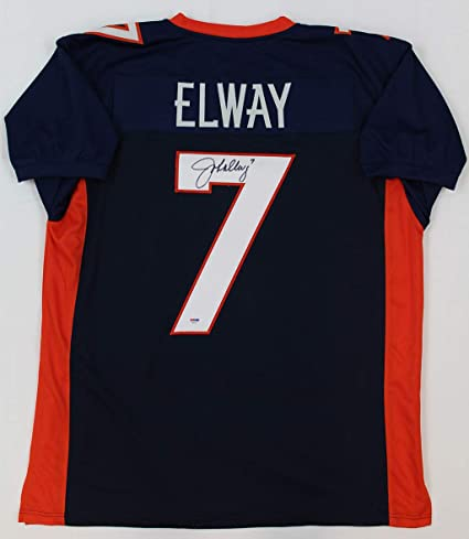 new concept 72a86 6ec5a John Elway Autographed Blue Broncos Jersey - Hand Signed By ...