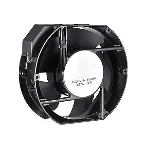 uxcell Cooling Fan 170mm x 150mm x 51mm FP-108EX-S1-B AC 220-240V 0.22A Dual Ball Bearings