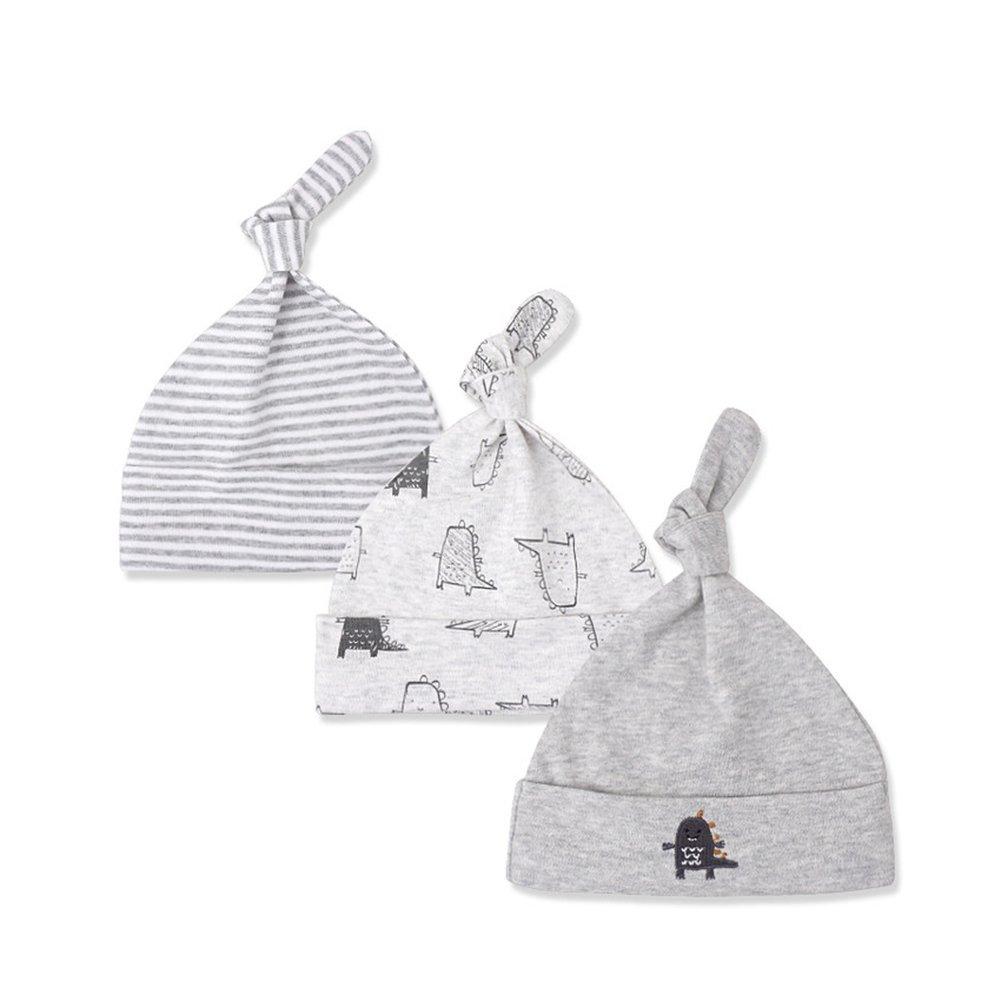 b28d0bcd Kissababy 3-Pack Newborn Baby Beanie Hats Cotton Adjustable Knot Cap Cotton  Knit Caps