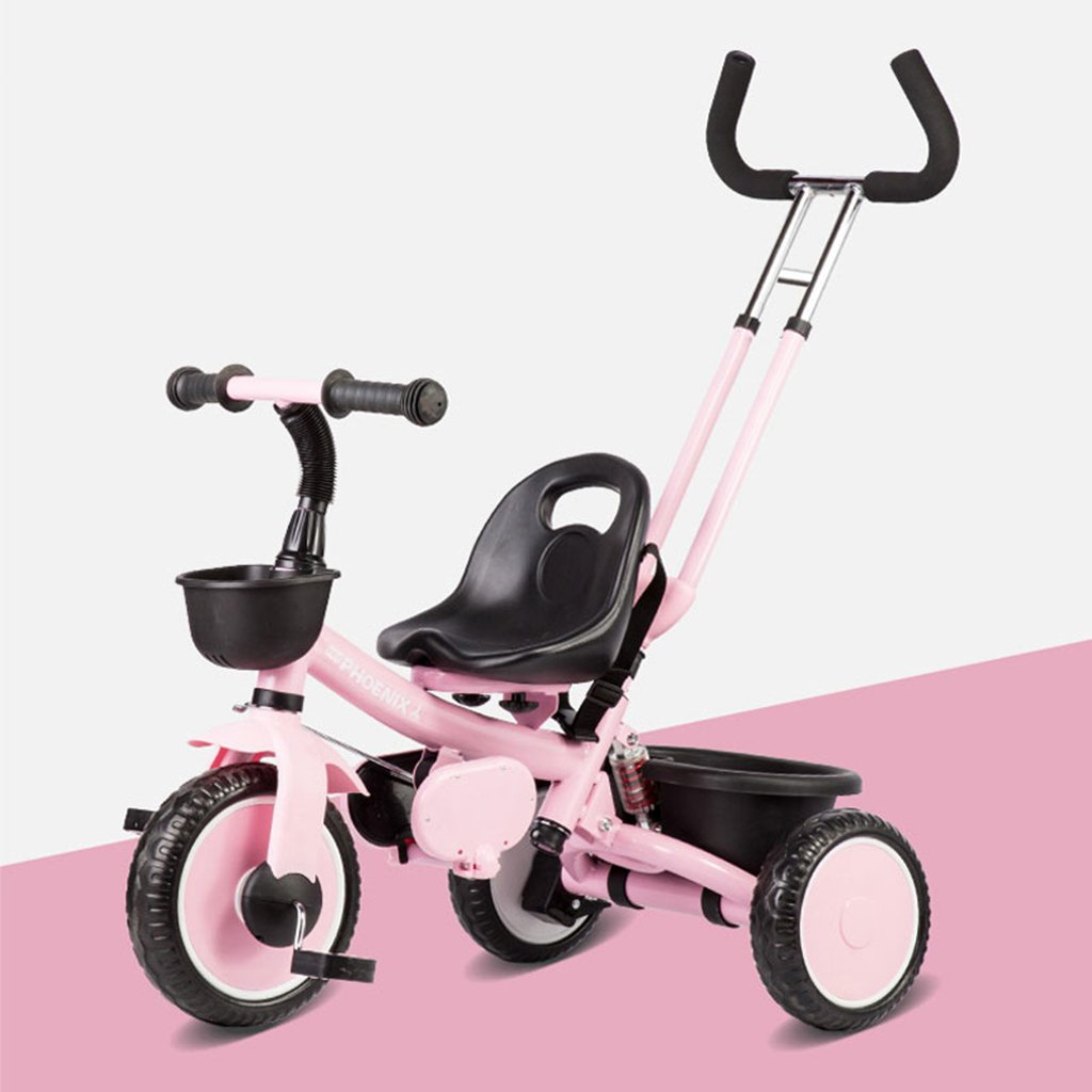 HAIZHEN マウンテンバイク 子供の三輪車6ヶ月 5歳180°回転式シート自転車調節可能なプッシュロッドEVAフォームダンピングホイール調節可能な長さのベルトベビーカー 新生児 B07DL8LRC9 ピンク ぴんく ピンク ぴんく