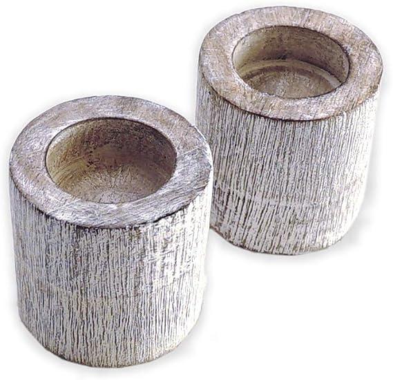 BHAVATU Portavelas de madera rústica, portavelas de madera de ...