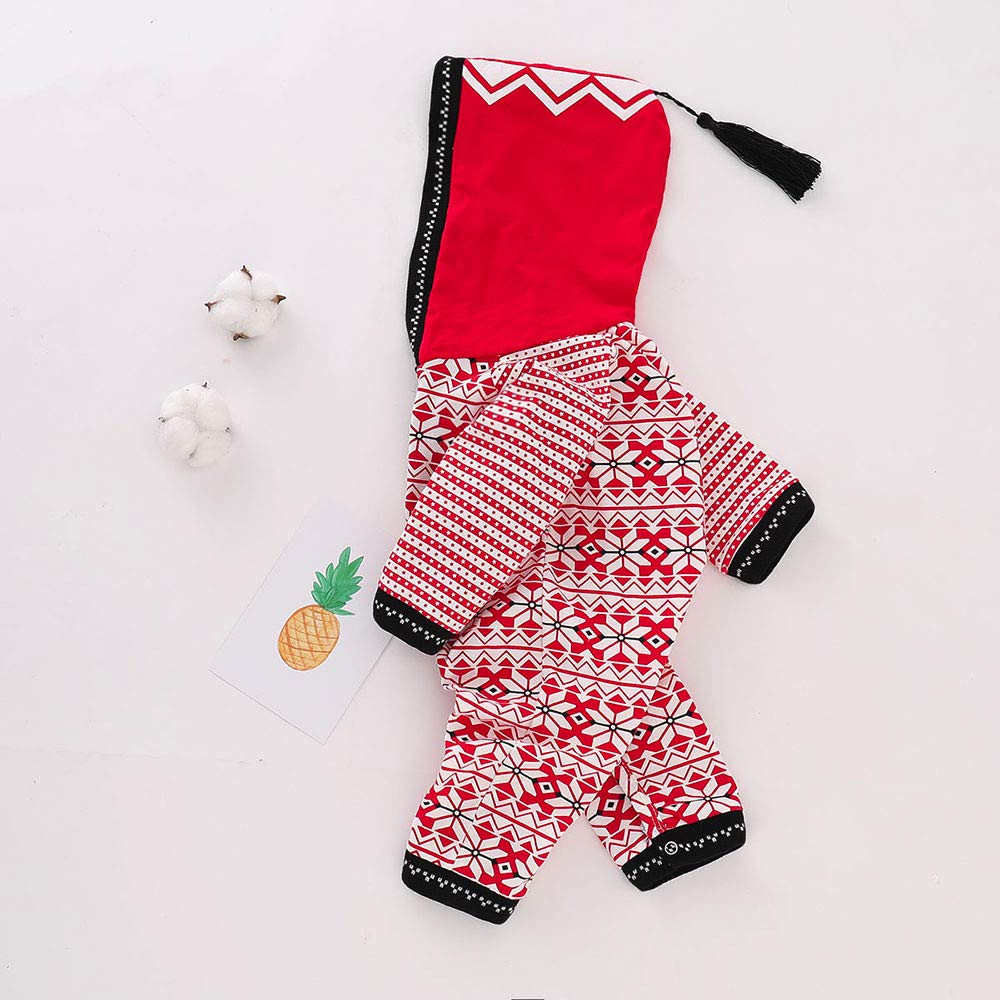 OCEAN-STORE Toddler Baby Boys Girls 3-24 Months Christmas Geometric Hoodie Jumpsuit Romper Tassel Clothes