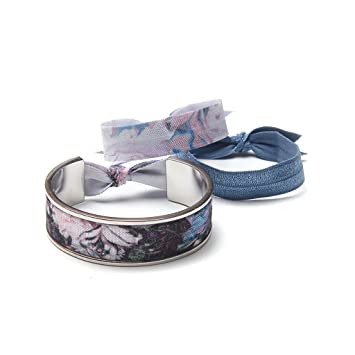 Amazon.com   Banded Narrow Hair Tie Bracelet Silver Palace with 3 Hair  Elastic Band Ties Style   Beauty 15650319acc
