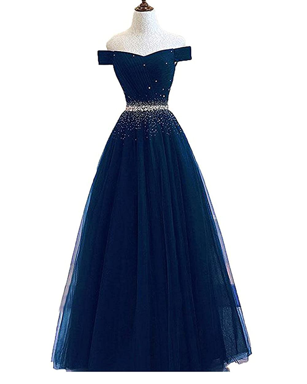 Navy alilith.Z Sexy Off The Shoulder A Line Prom Dresses Crystal Beaded Long Formal Evening Dresses Party Gowns for Women