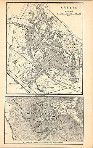 Amazon.com: Cortona & Arezzo 1886 detailed antique Italy city plan ...