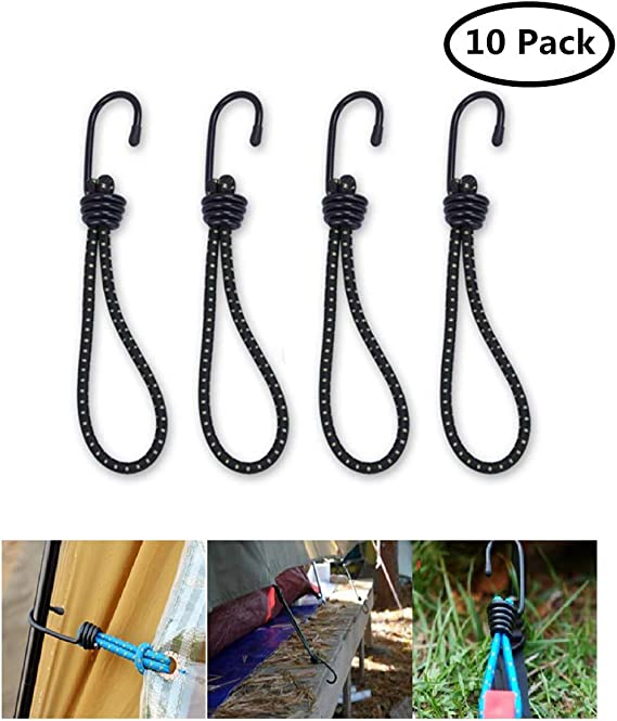 Elastic Bungee Straps with Metal Hooks Heavy Duty Bungee Ropes for Caravan Camping RVs Trunks Luggage Racks EDATOFLY 4 Pack Universal Bungee Cords