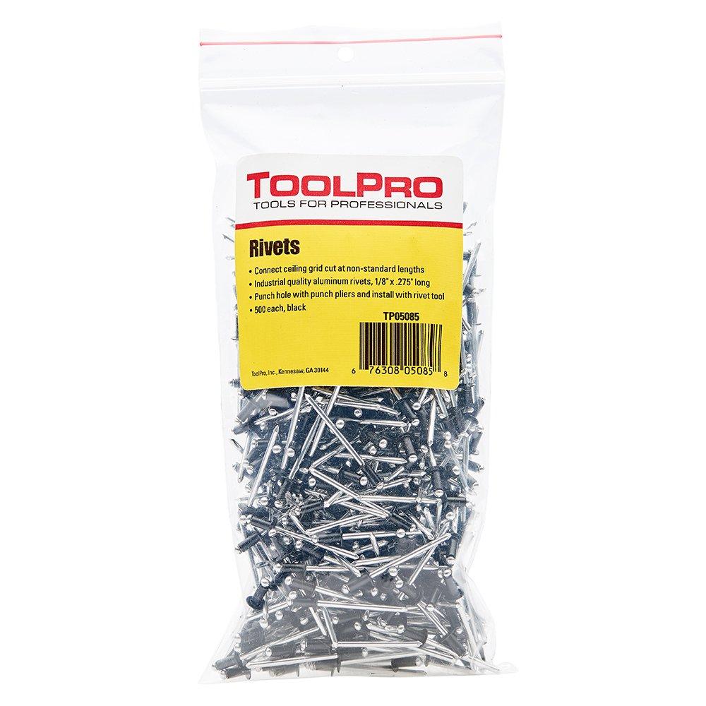ToolPro Pop Rivets for Ceilings, Black, 1/8'' (500 Pack)