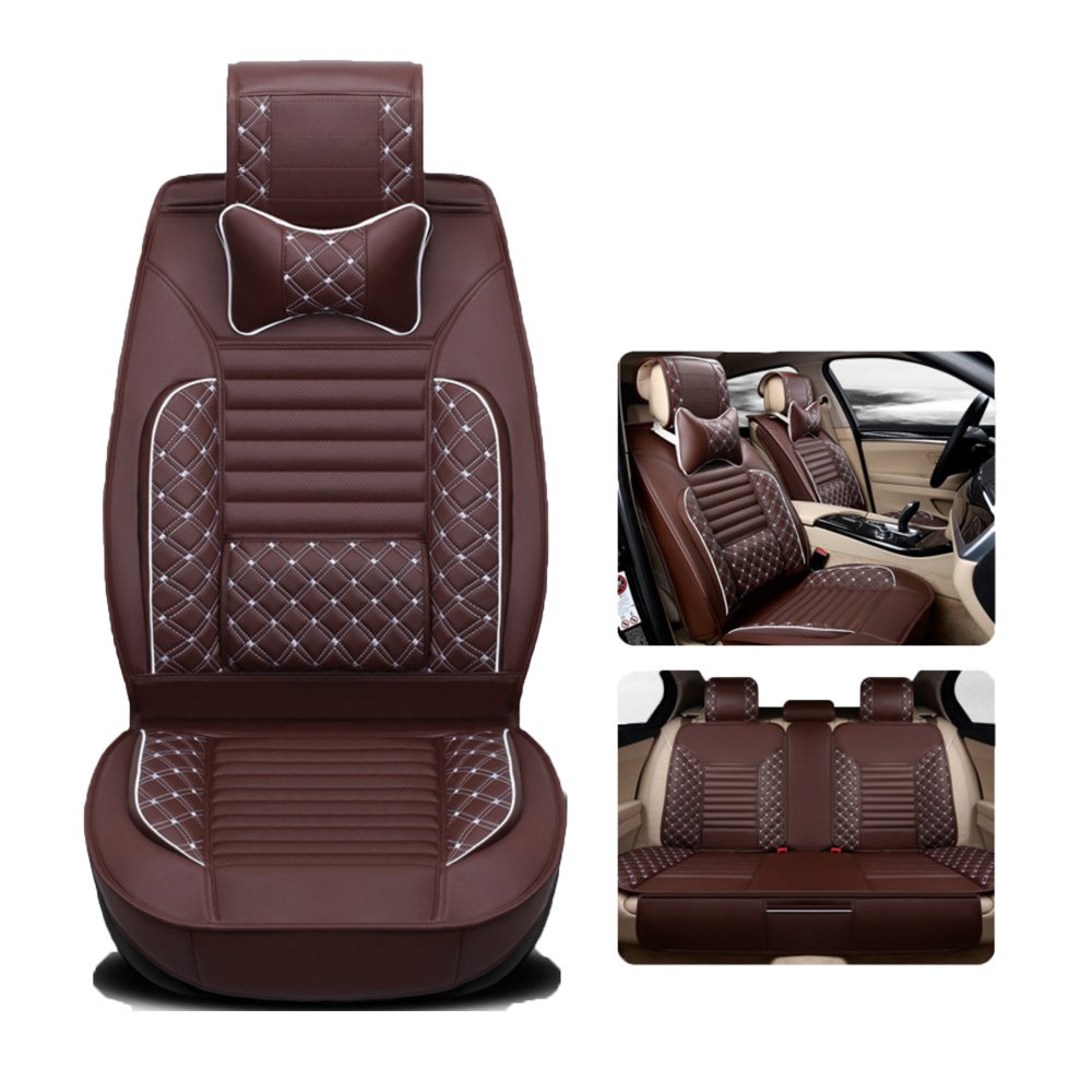 Binglinghua Auto Car Seat Cover PU Leather 5-Seats Front & Rear W/Neck Lumbar Pillow Size M (brown)