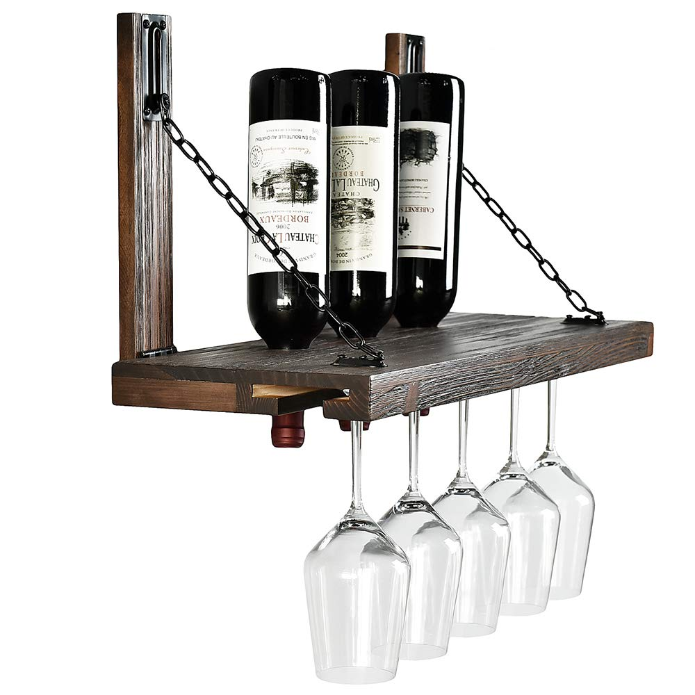 WELLAND Karen Wall Mounted Wine Racks with Glass Holder, Floating Wine Shelf & Glass Rack Set for Home & Kitchen Decor, Rustic Pine Wood