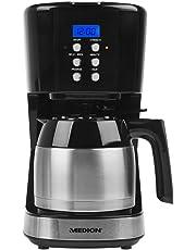 Medion MD 18088 - Cafetera con recipiente térmico, función del temporizador, parada de goteo, 900 vatios, capacidad de 1 litro, color negra
