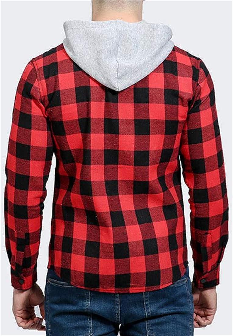 XiaoTianXin-men clothes XTX Mens Button Up Hooded Buffalo Plaid Drawstring Casual Shirts