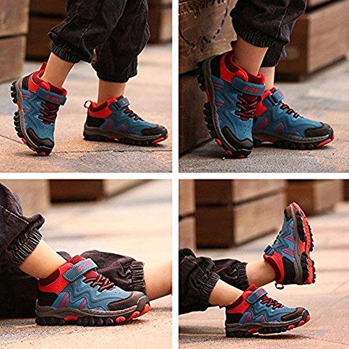 8bfcc6e281b3e1 Kinder Sneaker Jungen Mädchen Wanderschuhe Klettverschluss  TurnschuheOutdoor Trekking Schuhe Rutschfeste Abriebfeste Blau Rote