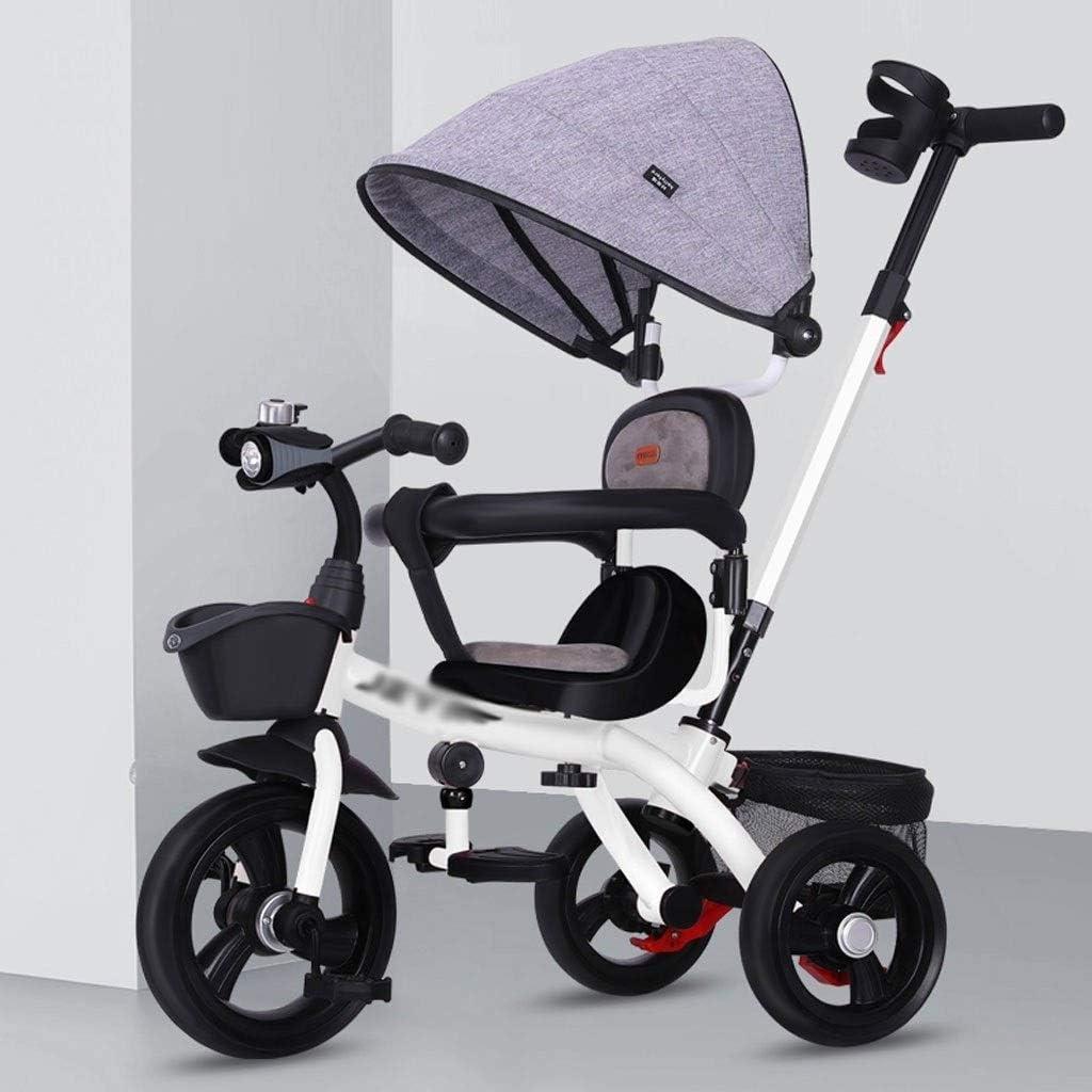 Jixi El Triciclo for niños con manija de Empuje/Embrague de la Rueda/Giratorio/con Cesta de Almacenamiento Plegable Cochecito de bebé (Color : White)