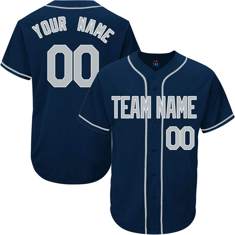 Navy Custom Baseball Jersey for Youth Throwback Embroidered Team Player Name & Numbers,Gray-White Size 2XL by Pullonsy