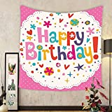Gzhihine Custom tapestry Birthday Decorations Tapestry Lovely Retro Greeting Card Inspired Design Hearts Smiles Flowers Dots for Bedroom Living Room Dorm 60 W X 40 L Multicolor