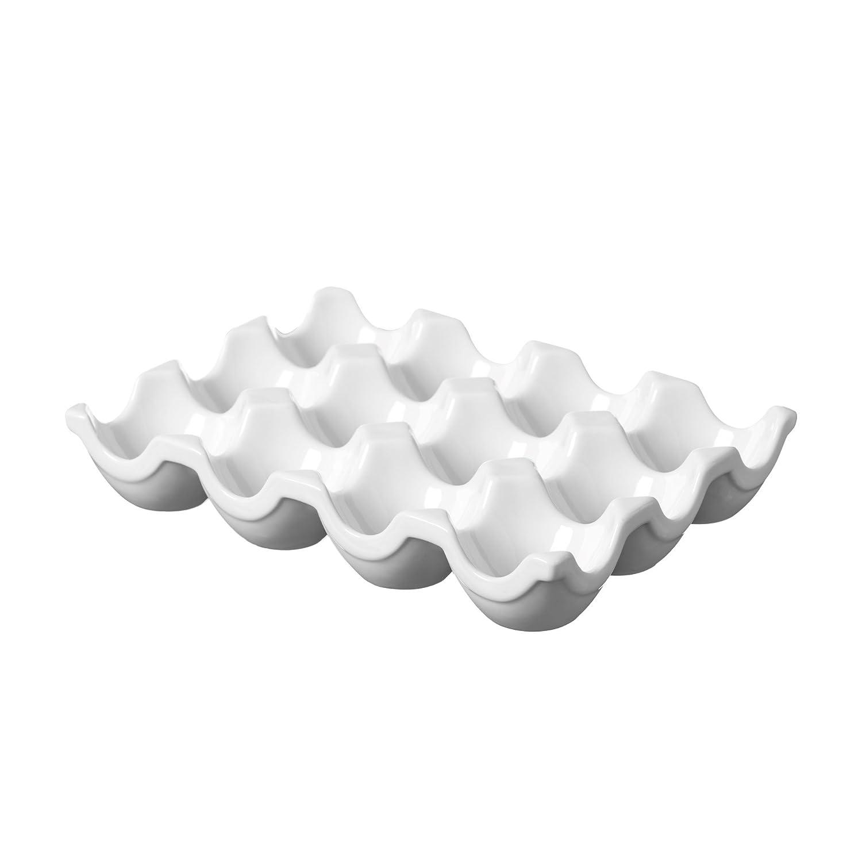 Price /& Kensington White Vitrified Porcelain Egg Tray Holds 12 Eggs Egg Holder Fridge Storage