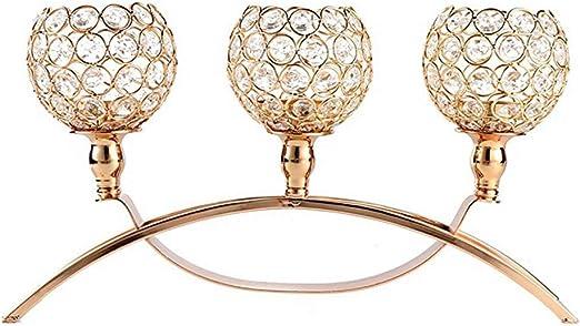 Portavelas de cristal de oro de Navidad, candelabros de 3 velas ...