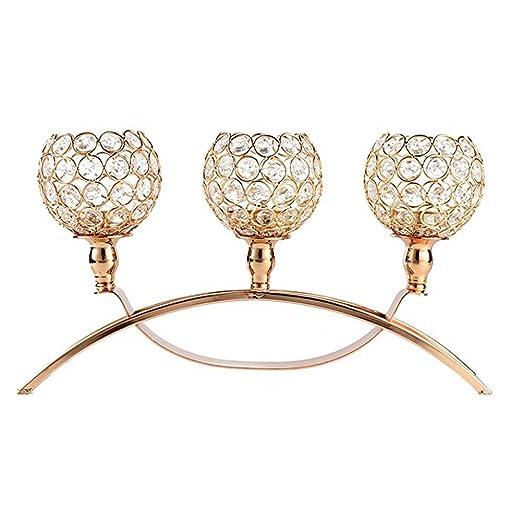 Portavelas de cristal de oro de Navidad, candelabros de 3 ...
