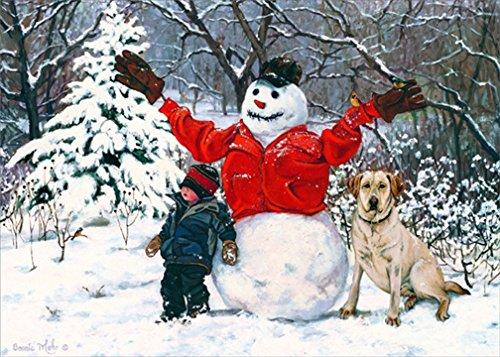 Boy, Snowman and Dog: Bonnie Mohr - LPG Country Box of 18 Christmas (Snowman Country Christmas Boxes)
