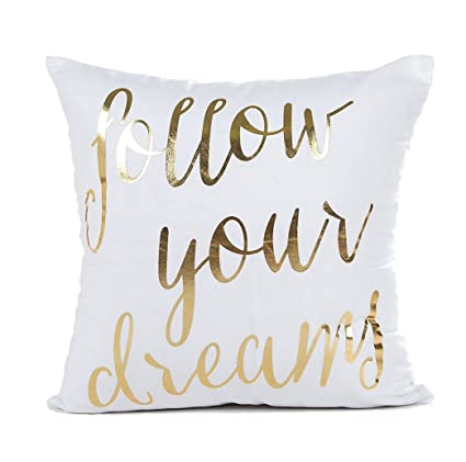 Pillow Quotes Inspiration Amazon Gold Follow Your Dreams Inspirational Quotes Throw